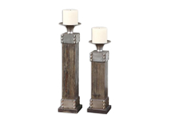 Lican Wood Candleholders: Set of 2