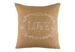 Timeless Treasures Love Jute Throw Pillow
