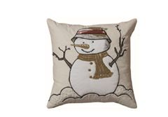 Snowman with Bucket Hat Throw Pillow