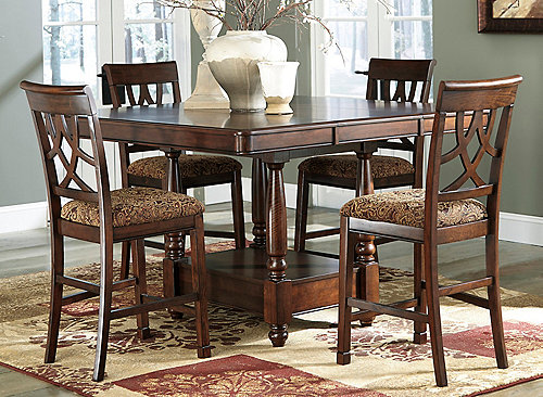 annabel 5 pc counter height dining set brown cherry raymour