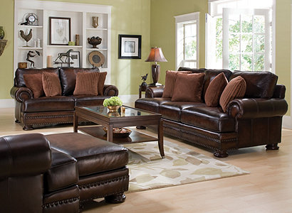 foster traditional leather living room collection design