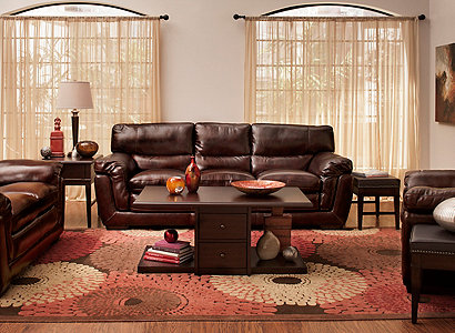 Stevens Contemporary Leather Living Room Collection