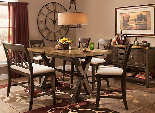 Wexford 6 Pc Counter Height Dining Set W Bench Oak
