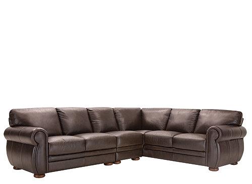 Marsala 3 Pc Leather Sectional Sofa Chocolate Raymour