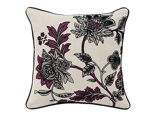 Floral-Patterned Gray and Burgundy Throw Pillow - Gray / Burgundy / Cream Raymour & Flanigan