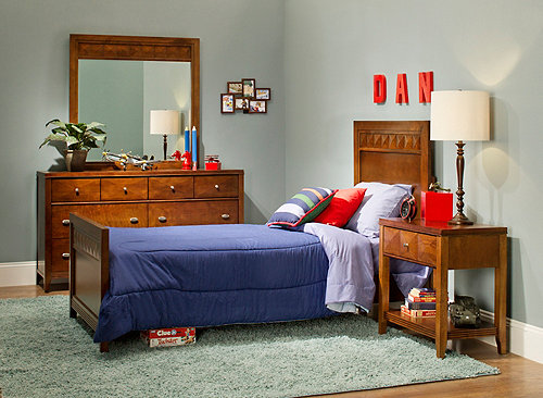 Shadow 4 Pc Twin Long Bedroom Set Cherry Raymour Flanigan
