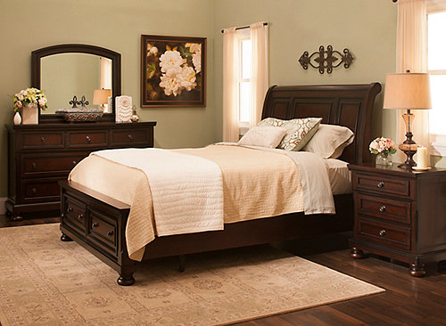 donegan 4 pc king bedroom set brown cherry raymour