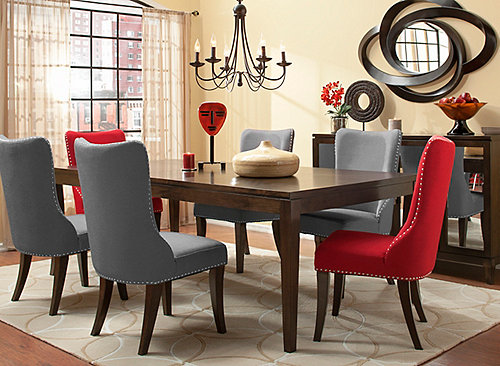 glamour 7 pc dining set w gray and red chairs espresso