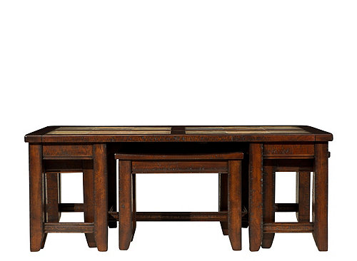 Portman Coffee Table W Stools Cinnamon Raymour Flanigan