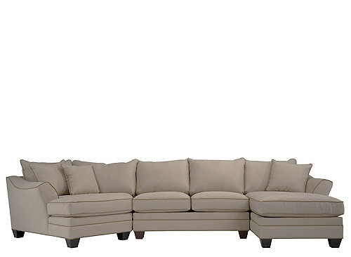 Foresthill 3 Pc Microfiber Sectional Sofa Light Taupe