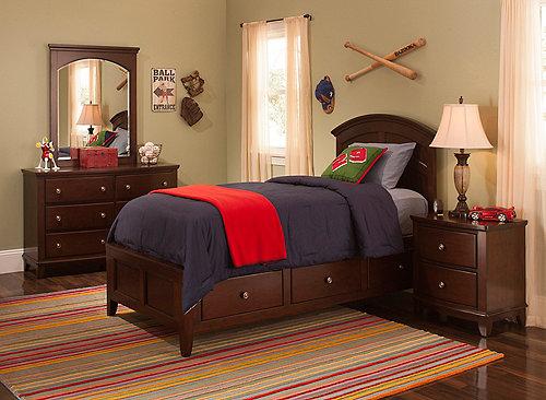 Kylie 4 Pc Twin Platform Bedroom Set W Storage Bed Merlot Raymour Flanigan