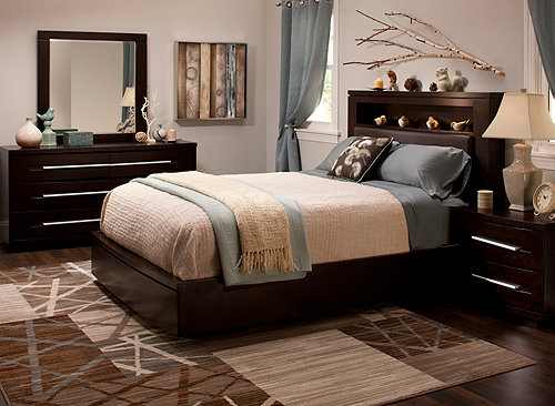 Wall Street 4 Pc Queen Leather Platform Bedroom Set W Storage Bed Brown