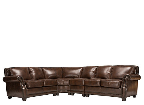 Romano 4 Pc Leather Sectional Sofa Antique Tobacco Raymour Amp Flanigan