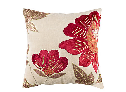 Floral Patterned Ivory And Burgundy Throw Pillow Ivory