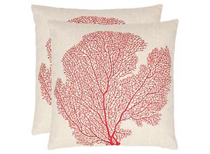 Spice-Fan Coral Throw Pillows: Set of 2