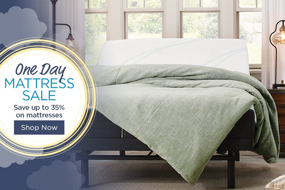 One Day Mattress Sale<br/>Save up to 30% on Mattresses