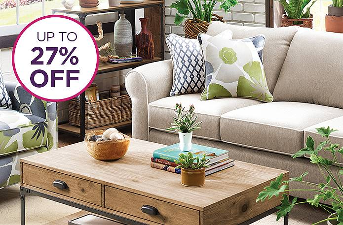 Save big. Sit comfortably. Living rooms up to 27% off.