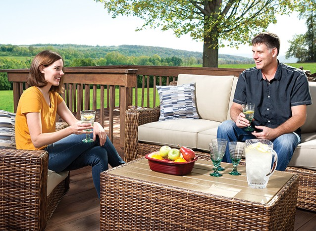 In the sun or shade, have it made with stylish outdoor furniture.