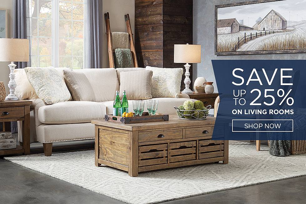 Save up to 25% on living rooms.