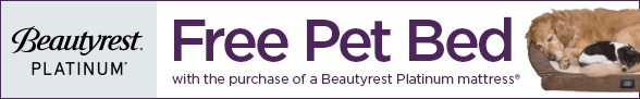 Free pet bed with Beautyrest Platinum mattress purchase