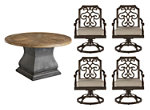 Arch Salvage Lyon 5-pc. Round Outdoor Dining Set w/ Swivel Rocker Dining Chairs