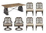 Arch Salvage 7-pc. Outdoor Dining Set w/ Swivel Rocker Dining Chairs
