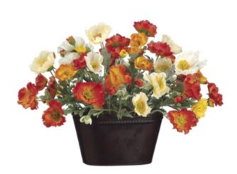 Allstate floral raymour flanigan orange and yellow poppies in metal pot mightylinksfo