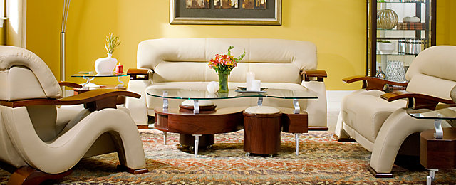 ... Raymour And Flanigan Furniture. Metro Contemporary Leather With Vinyl  Match Living Room Collection