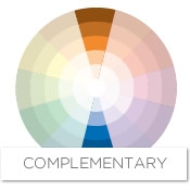 These colors complement each other, adding interest and energy to a room.  Looking at the color wheel, you can see that the complement of orange is  blue.