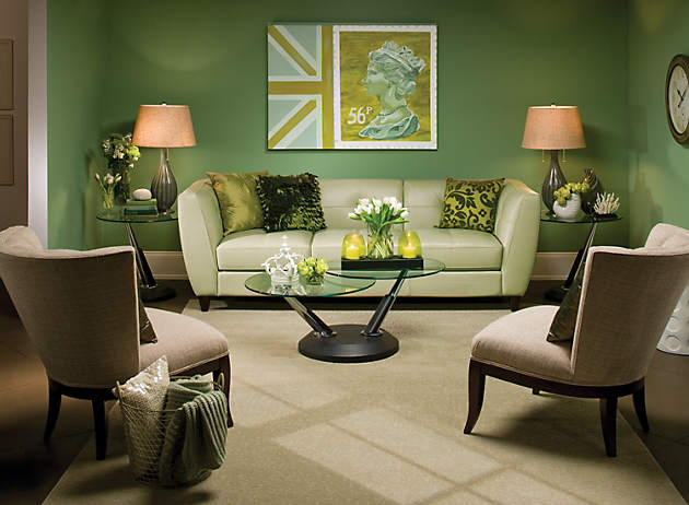 color story decorating with green monochromatic raymour and