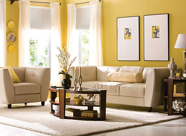 Color story decorating with yellow monochromatic for Mustard living room ideas
