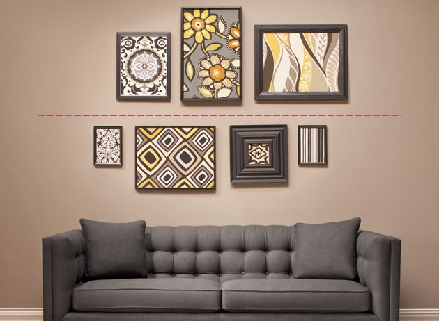 How to diy hang and arrange wall art the art of Painting arrangements on wall