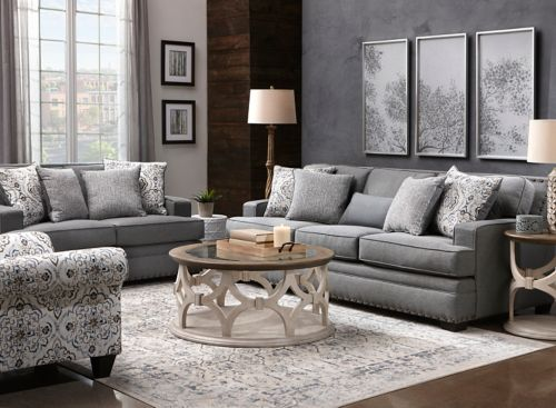 Branson 2 Pc Chenille Sofa And, Raymour And Flanigan Living Room Sets