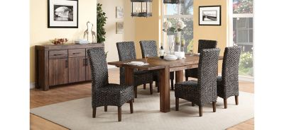 Dining Set w/ Woven Chairs  sc 1 st  Raymour u0026 Flanigan & Middlefield 7-pc. Dining Set w/ Woven Chairs - Brick Brown | Raymour ...