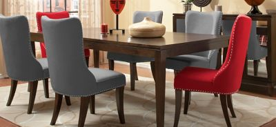 Glamour 7pc Dining Set w Gray and Red Chairs Espresso Gray