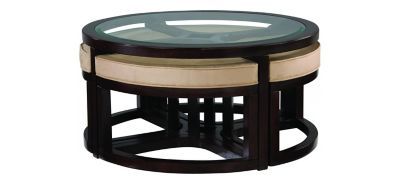 Juniper Glass Coffee Table W/ Ottomans