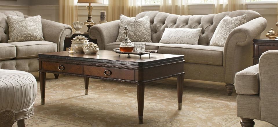 view all thomasville furniture collections winslet chenille sofa - Thomasville Living Room Sets