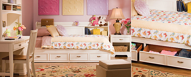 Pint Sized Kids Bedrooms A Girl Can Dream Raymour And Flanigan Furniture Design Center