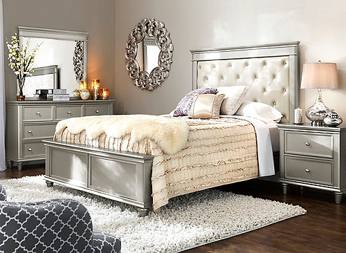 Tiffany 4 Pc Queen Bedroom Set Silver Raymour Flanigan