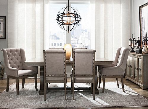 Lorient 7 Pc Dining Set Brown Raymour Flanigan
