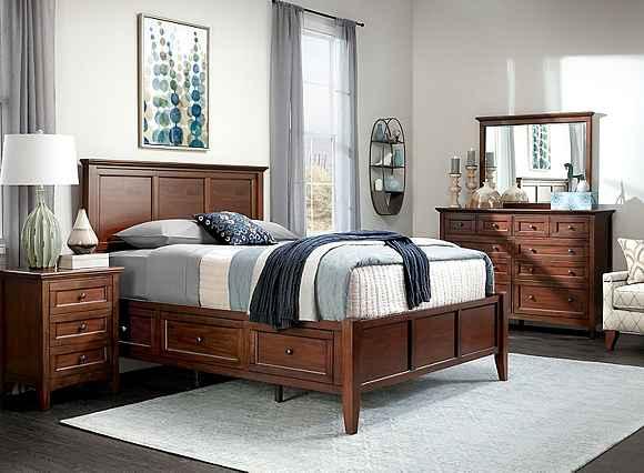 Westlake 4 Pc Queen Platform Bedroom Set W Storage Bed Cherry Raymour Flanigan