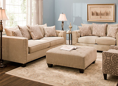 Soft Blue - Cindy Crawford Home® Calista Contemporary Living Room Collection