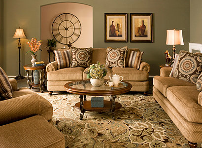 Dorian transitional chenille living room collection - What colors go with olive green walls ...