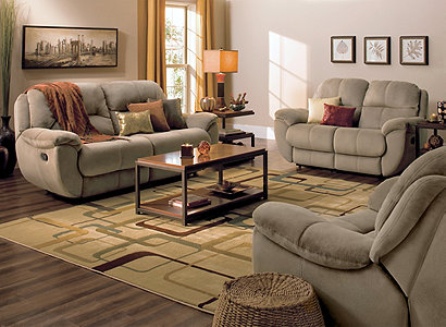 Subdued Styling - Kathy Ireland Home® Quinn Casual Microfiber Living Room Collection