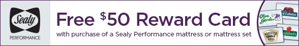 Free $50 Dinner Reward Card with Sealy Performance Mattress Purchase